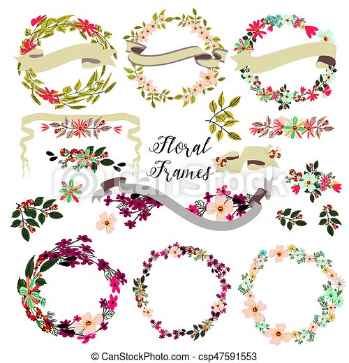 Big set of floral frames with hand drawn flowers.eps - csp47591553