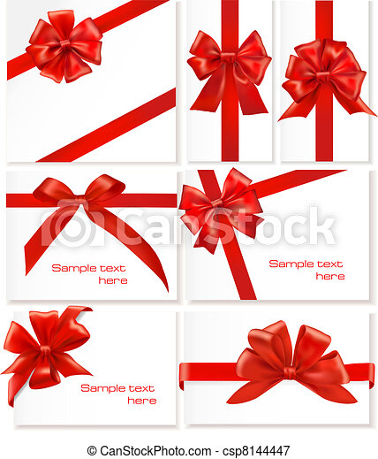 Big set of gift bows with ribbons. - csp8144447