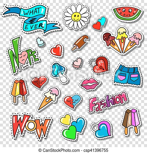 Big set of Girl Fashion Comics Style Patch Badges - csp41396755