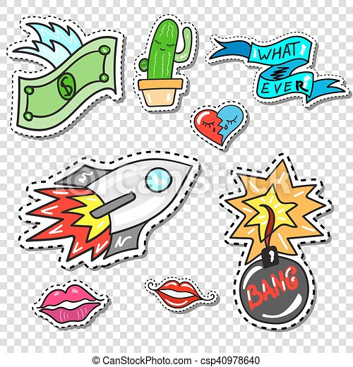 Big set of Girl Fashion Comics Style Patch Badges - csp40978640
