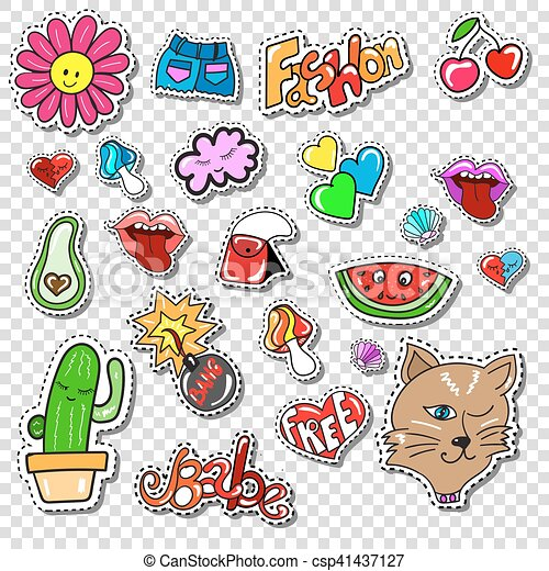 Big set of Girl Fashion Comics Style Patch Badges - csp41437127