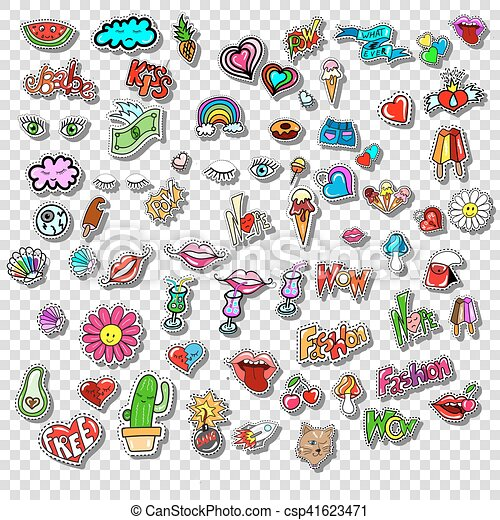 Big set of Girl Fashion Comics Style Patch Badges - csp41623471