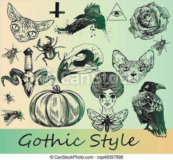 Big set of gothic stickers - csp49397898