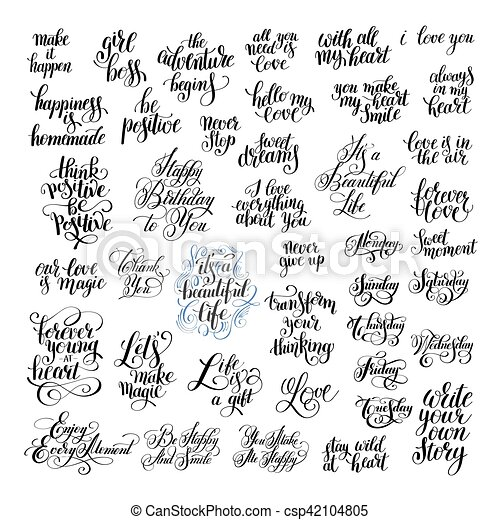 big set of handwritten positive inspirational quotes brush typog - csp42104805
