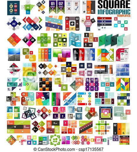 Big set of infographic modern templates - squares - csp17135567