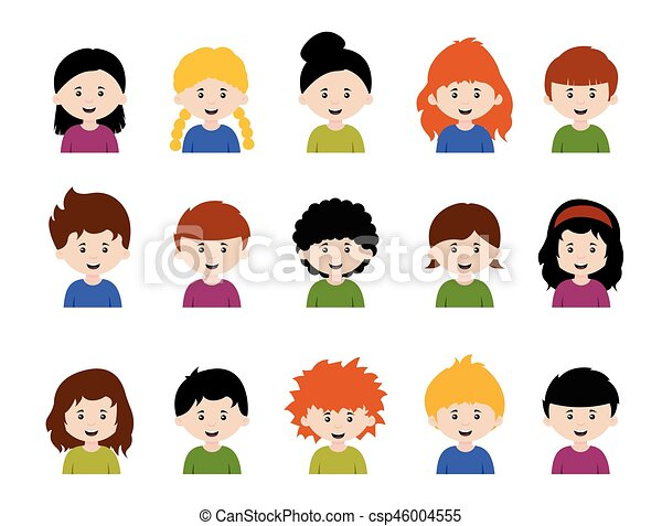 big set of kids avatars cute cartoon boys and girls faces with