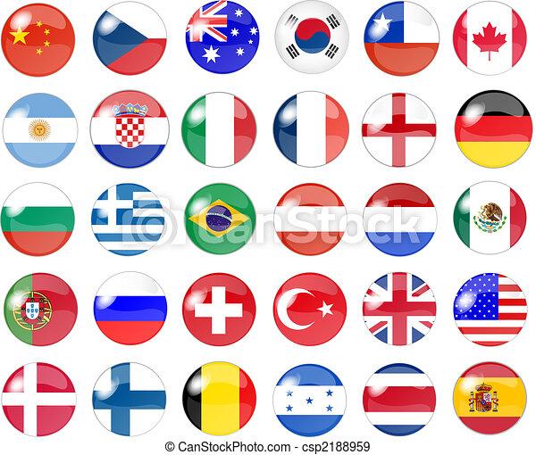 big set of national flag buttons - csp2188959