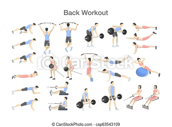 Big set of people doing exercises in the gym - csp63543109
