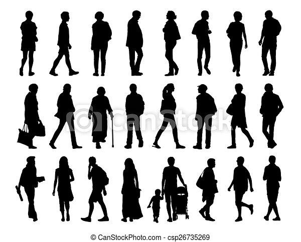 Big Set Of People Walking Silhouettes 2 Stock Illustration