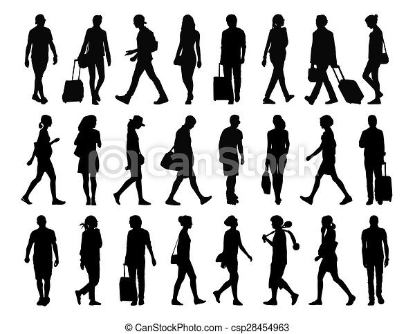 Big Set Of People Walking Silhouettes 4 Stock Illustration