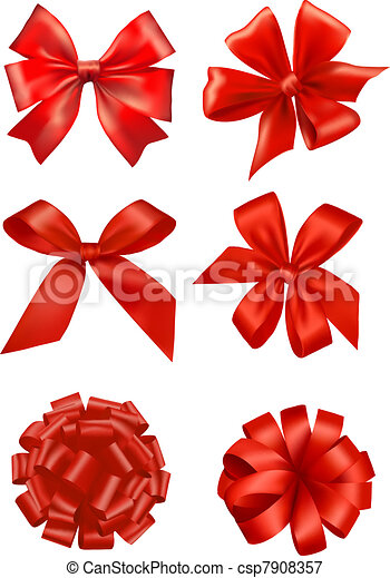 Big set of red gift bows with ribbons vector vectors big set of red gift bows csp7908357 negle Image collections