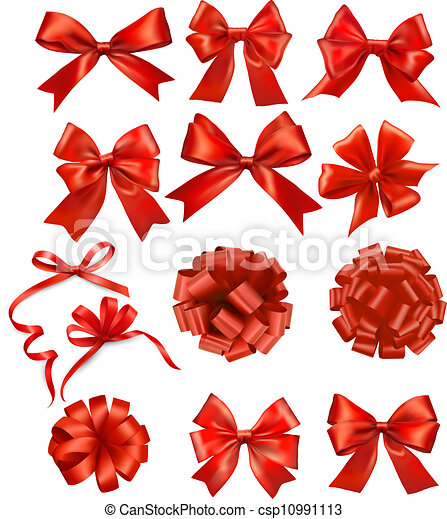 Big set of red gift bows with ribbons Vector  - csp10991113