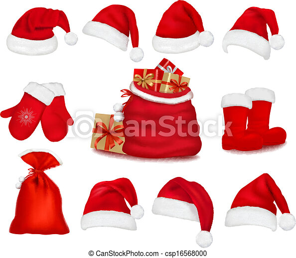 Big set of red gift bows with ribbons. Vector.  - csp16568000