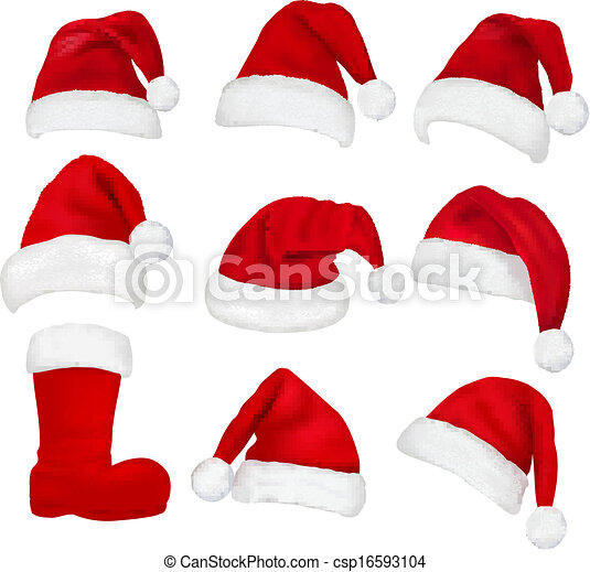 Big set of red santa hats and boot. Vector. - csp16593104
