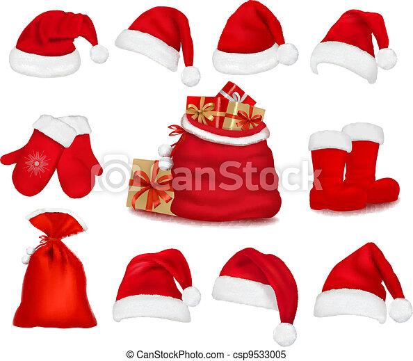7c36b28ad533c Big set of red santa hats and clothes and a gift bag. vector illustration.