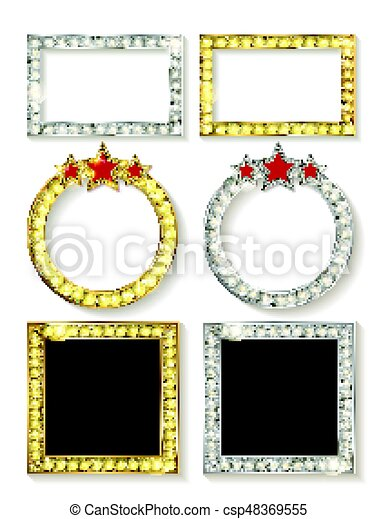 Big set of retro frames with glowing lamps - csp48369555