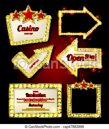 Big set of retro frames with glowing lamps. - csp47883999