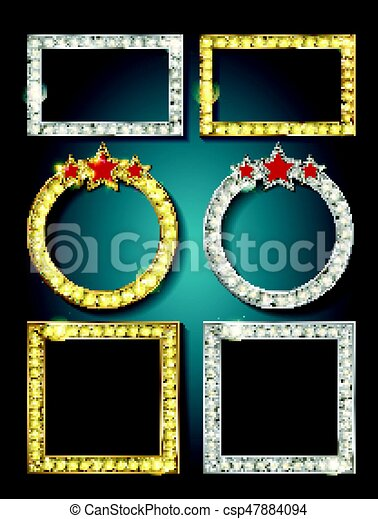 Big set of retro frames with glowing lamps. - csp47884094