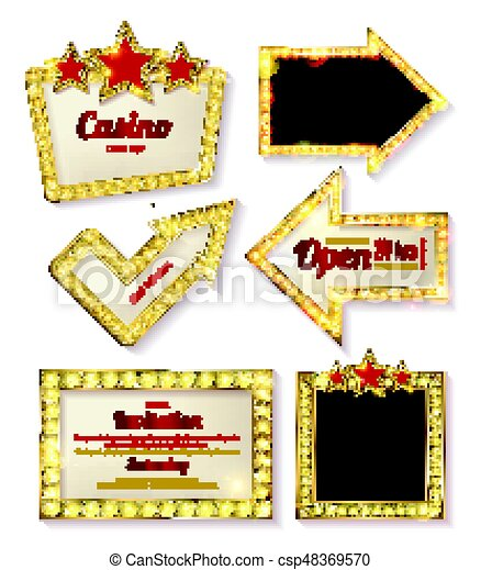 Big set of retro frames with glowing lamps - csp48369570