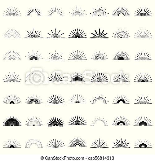 Big set of retro sun burst shapes. 49 half vintage logo, labels, badges. vector design ...