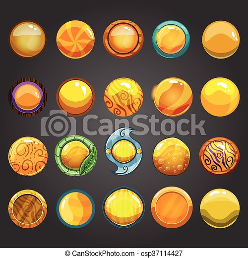 Big set of round orange button - csp37114427