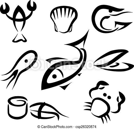 Big Set Of Sea Food Symbols Simple Icons In Black Lines