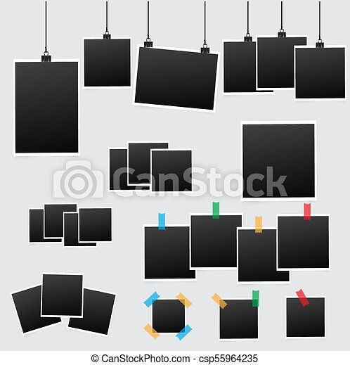 Big set of square vector photo frames on sticky tape. vertical and ...