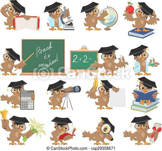 Big set of teacher owl - csp29358671
