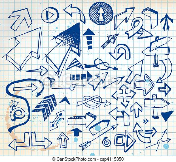 Big set of various doodle arrows - csp4115350