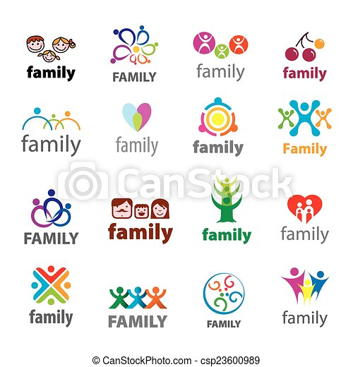big set of vector logos family - csp23600989
