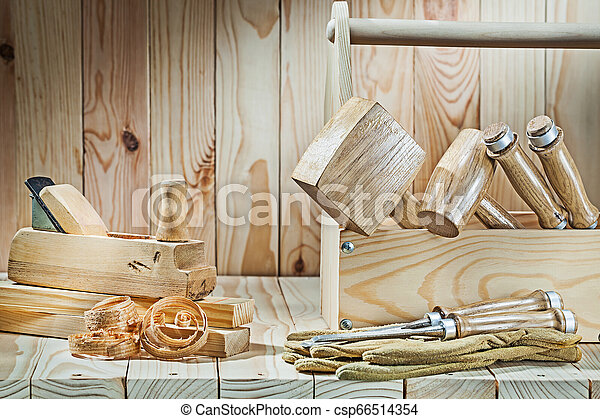 big set of woodworkers tools on wood background - csp66514354