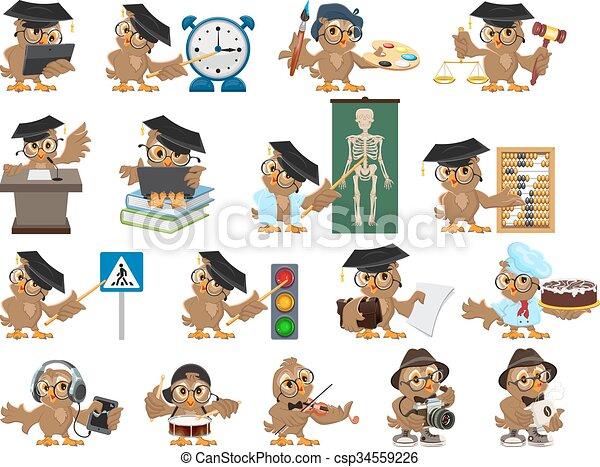 Big set owl teacher. Cartoon bird - csp34559226