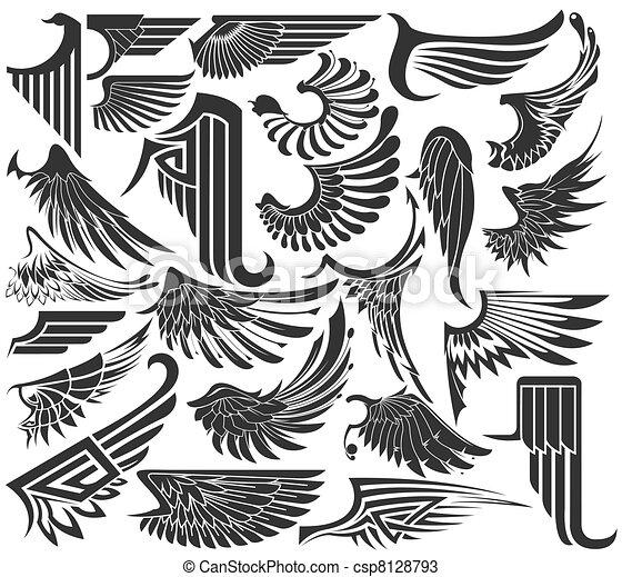 Big Set sketches of wings - csp8128793