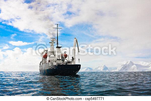 Big ship in Antarctica  - csp5497771