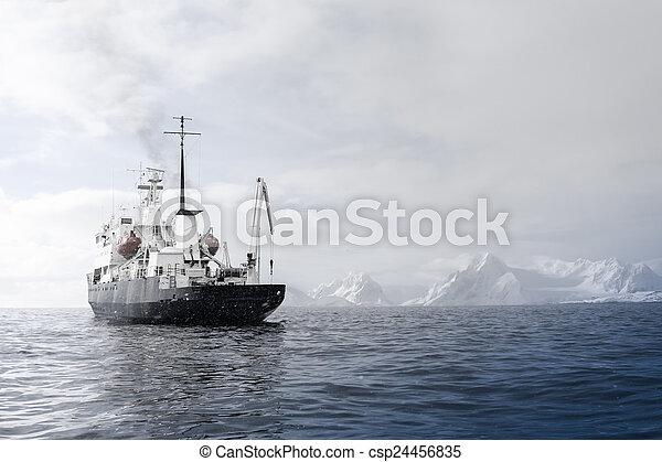Big ship in Antarctica - csp24456835