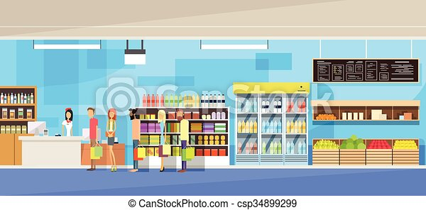 Big Shop Interior, Sales Woman, People Customers Stand In Line Cash Desk - csp34899299