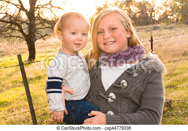 Big Sister With Little Brother - csp44779338