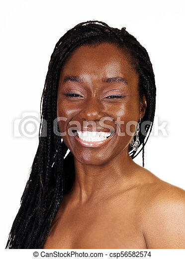 Big Smile Portrait Attractive African American Woman - csp56582574