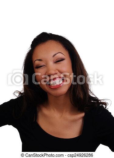 Big Smile Showing Braces Upper Teeth Black Woman - csp24926286