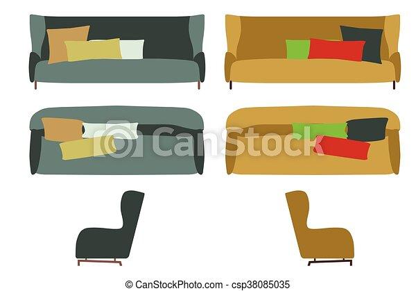 Big Sofas Set Furniture For Your Interior Design Flat Vector