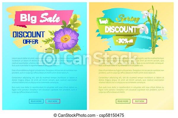 Big Spring Best Sale Advertisement Labels Snowdrop - csp58150475