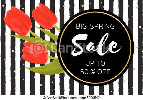 Big Spring sale background with beautiful flowers. - csp45099542