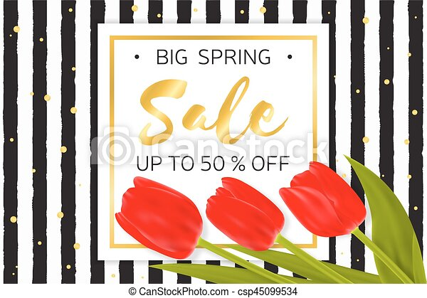 Big Spring sale background with beautiful flowers. - csp45099534