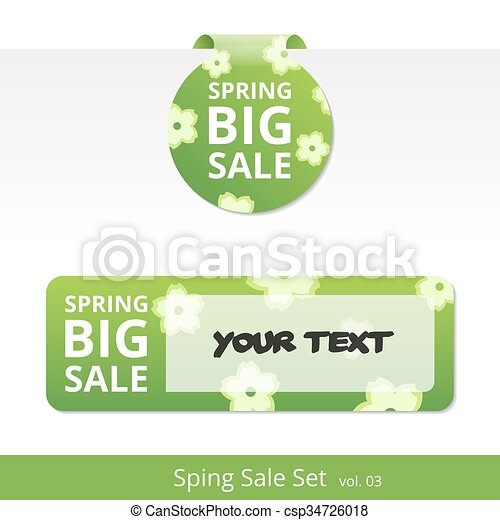 Big spring sale set. label with a rope for promotions. - csp34726018