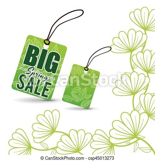 big spring sale tag price flowers - csp45013273