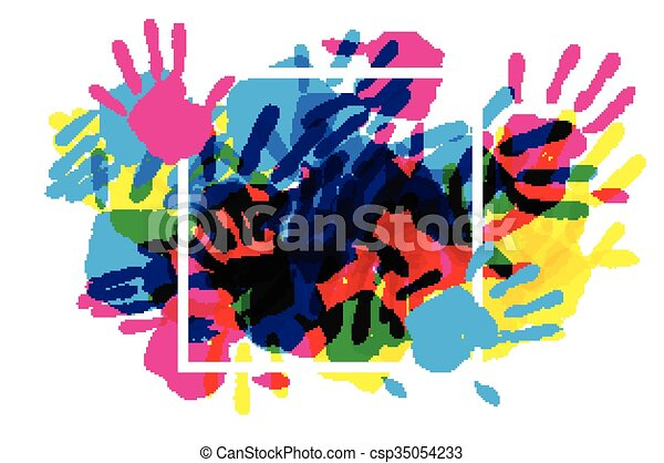 Big square frame made of colored handprints. - csp35054233