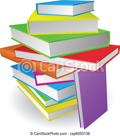 Big stack of books illustration - csp6503136