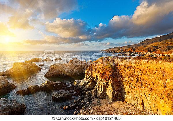 Big Sur Pacific Ocean coast at sunset - csp10124465