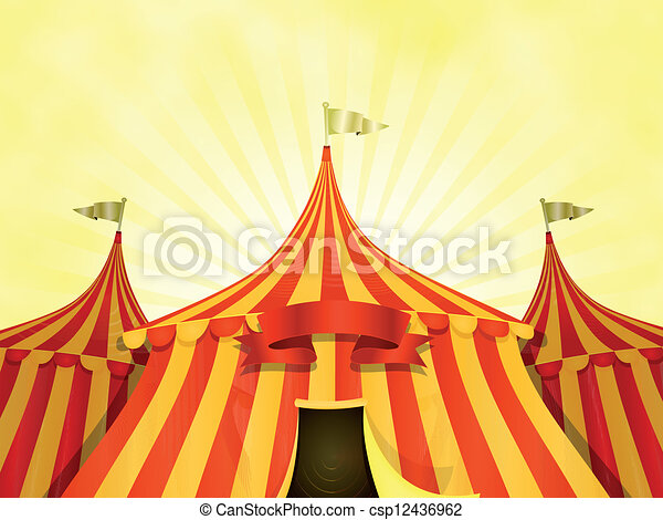 Big Top Circus Background With Banner - csp12436962
