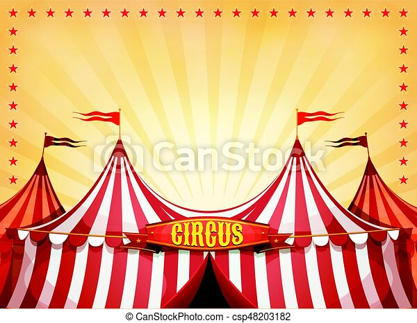 Big Top Circus Background With Banner - csp48203182